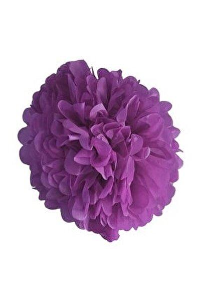 1 Adet Mor Ponpon Gramafon Çiçek Kağıt Doğum Günü Parti Süsü