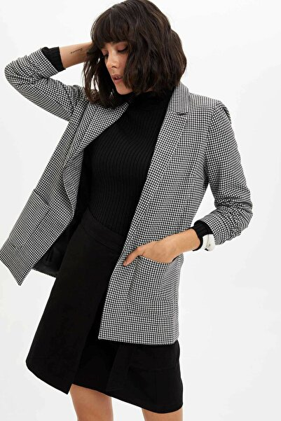 DeFacto Kadın Siyah Ekose Blazer Ceket M8794AZ.19WN.BK27