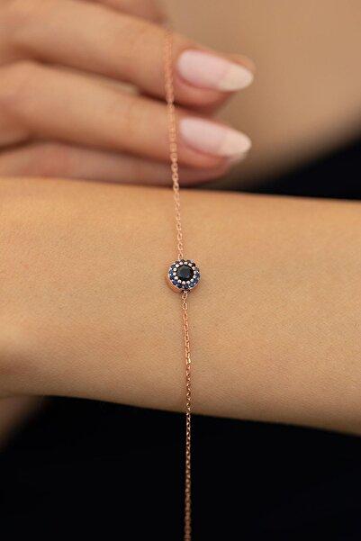 İzla Design Kadın Safir Taşlı Rose Kaplama Gümüş İtalyan Bileklik PKT-TLYSLVR0044