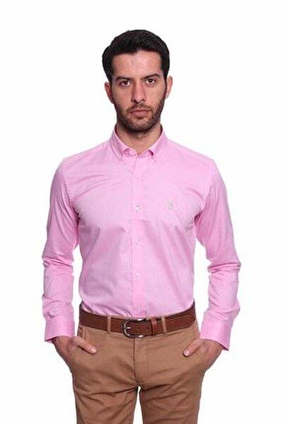 Uzun Kollu Kolu Katlanabilir Erkek Gömlek Pembe/Pink 1812077