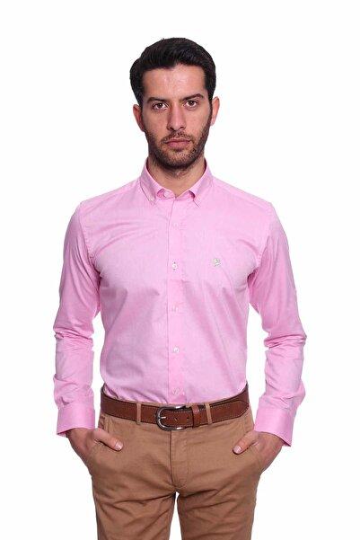 Diandor Uzun Kollu Kolu Katlanabilir Erkek Gömlek Pembe/Pink 1812077