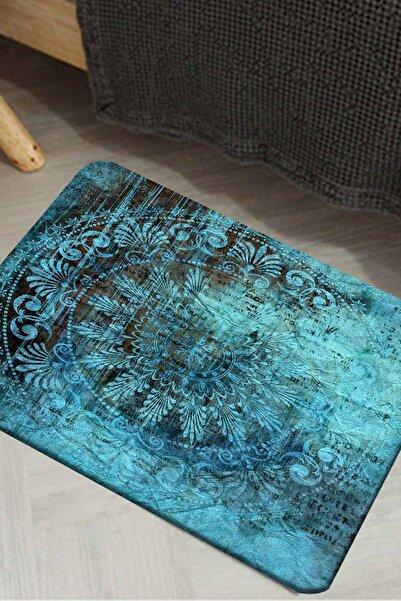 Else Halı Canel Mavi Vintage Eskitme Dekoratif Ev İçi Kapı Önü Paspası 50X80Cm