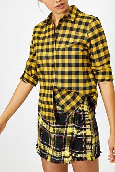 Kadın Sarı Kareli Gömlek 0KAL68584IW