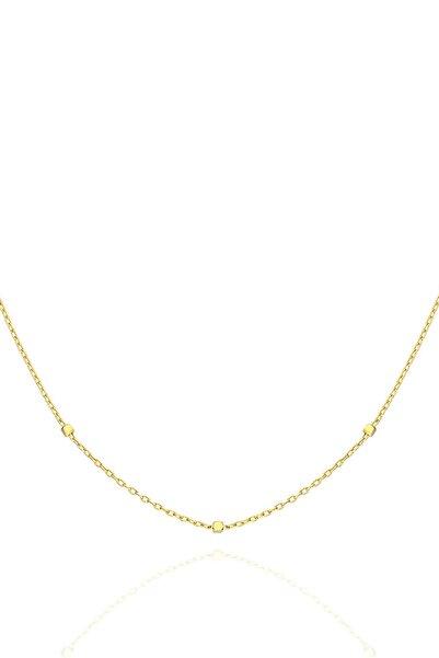 PinkGoldStore 50 cm Kübik Zincir 14 Ayar Sarı Altın Kolye