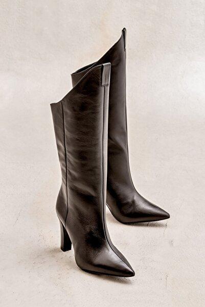 Elle Shoes BORHALA Hakiki Deri Kadın Siyah Çizme