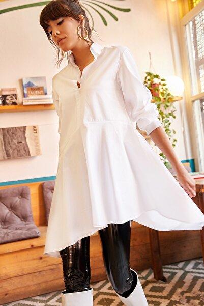 Olalook Kadın Beyaz Gömlek Yakalı Asimetrik Tunik TNK-19000034