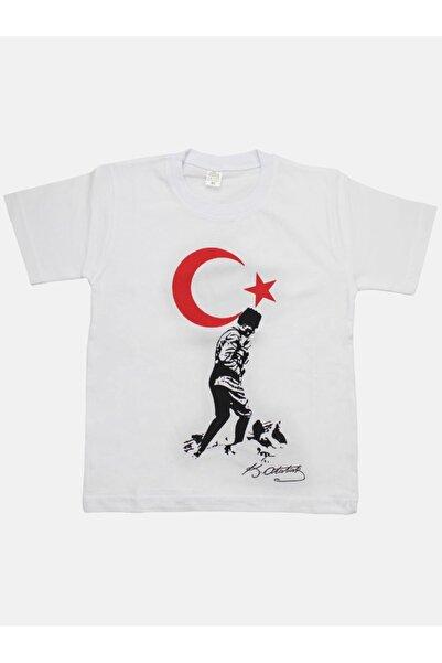 Modakids Unisex Beyaz Bayrak Ve Atatürk Baskılı Tişört