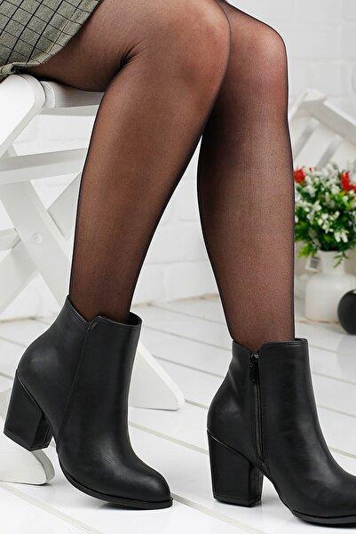 Ayakland 1111-2000 Günlük 6Cm Topuk Termo Bayan Bot Cilt Ayakkabı 19KAYAYK0000036