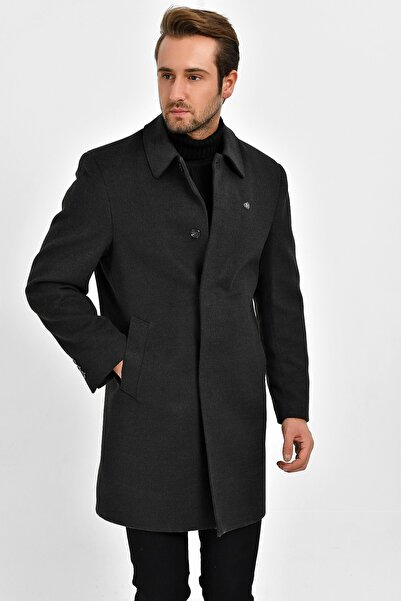 DYNAMO Erkek Füme Yün Karışımlı Kaşe Gömlek Yaka Palto 9060