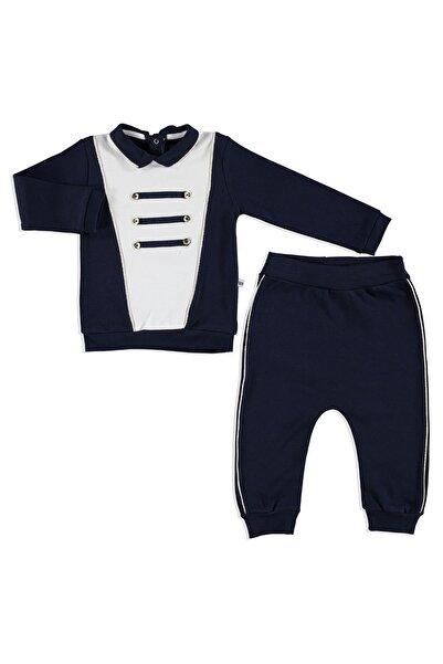 Mymio Bebek Armalı İnterlok Polo Yaka Sweatshirt Alt 2Li Takım