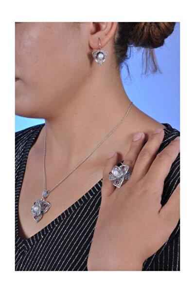 Midyat Nurtaş Gümüş Inci Ve Yakut Taşlı Oksitli Telkari Bayan Gümüş Üçlü Set [kod:201013541]