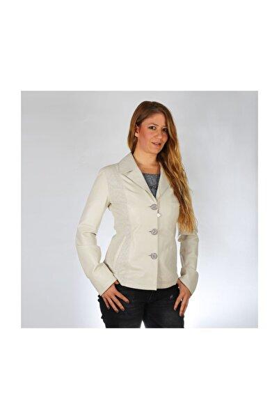 DEDA Kadın Bej Deri Ceket Bayan K-9