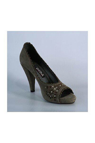DEDA Bayan Biye Detaylı Yeşil Süet Topuklu Ayakkabı 554