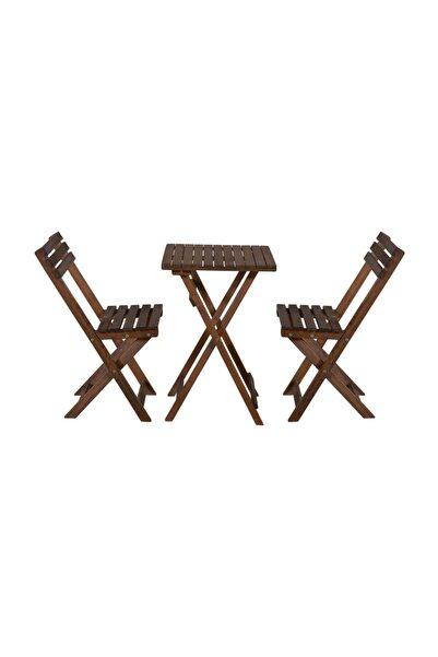 Özdağ Gürgen Ceviz Renk 50x50 Katlanır Masa Ve 2 Adet Katlanır Sandalye Set