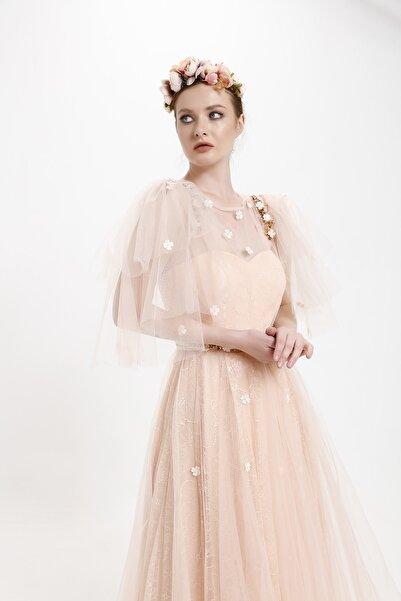 minel aşk Somon Rengi,volanlı, Işleme Detaylı Tül Abiye Elbise