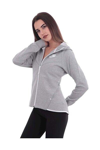 Nike W Nsw Tch Flc Wr Hoodıe Fz Kadın Ceket Gri