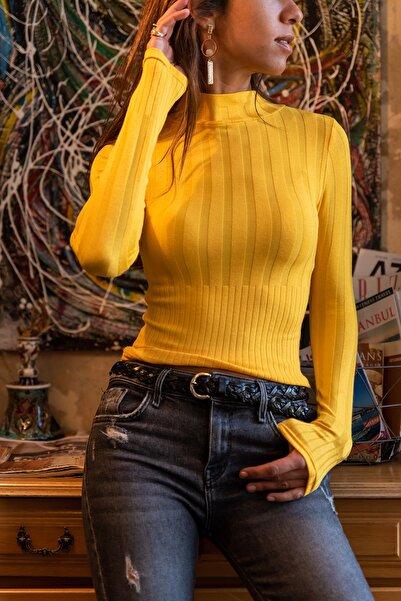 Güneşkızı Kadın Sarı Yarım Balıkçı Basıc Bluz GK-30KCCK12010