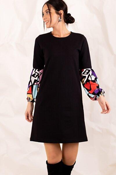 armonika Kadın Siyah Geometrik Desenli Balon Kol Elbise ARM-20K001099