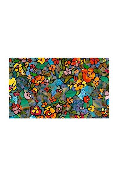 d-c-fix 346-0431 Rengarenk Çiçekli Kendinden Yapışkanlı Cam Vitray Folyo