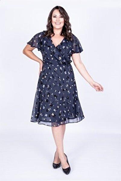Arkası Çapraz Biyeli Şifon Elbise