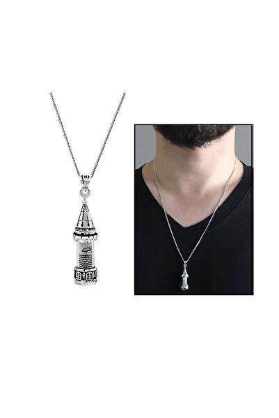 Tesbihane Galata Kulesi Tasarım 925 Ayar Gümüş Cevşen Kolye 103000990