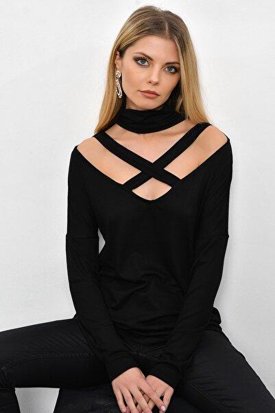 Cool & Sexy Kadın Siyah Çapraz Yaka Tunik B53