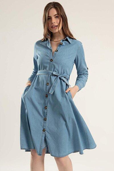 Pattaya Kadın Kuşaklı Uzun Kollu Kot Gömlek Elbise Y20s110-1924