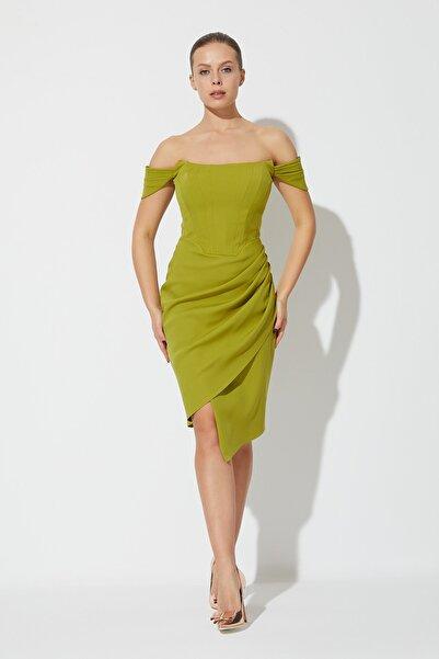 RENGIN Kadın Göğsü Çok Kuplu Pileli Askılı Krep Elbise