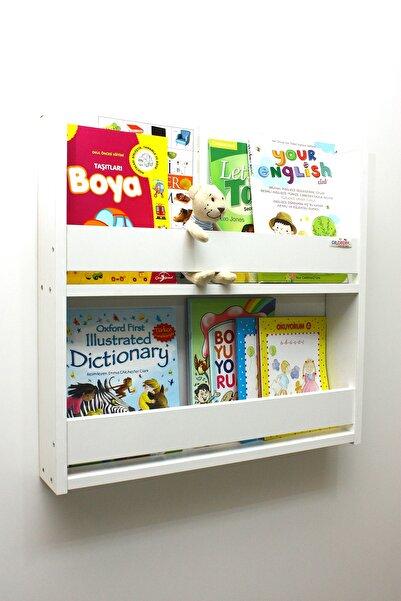 Ceebebek Beyaz 2 Katlı Montessori Kitaplık Beyaz Çocuk Odası Kitaplık Ahşap Duvar Rafı
