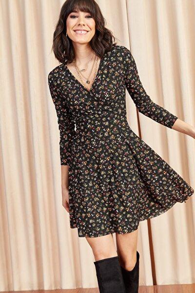 Olalook Kadın Siyah Çiçekli Kruvaze Elbise ELB-19000962