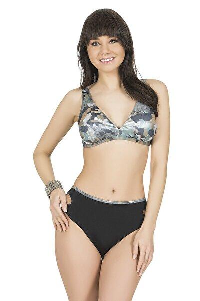 Endeep Kadın Gri Desenli V Yaka Toparlayıcı Bikini Takımı