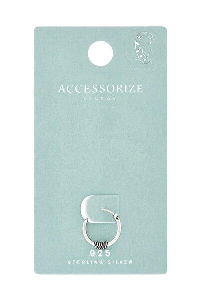 Accessorize Kadın Gümüş Sargılı Tek Halka Küpe