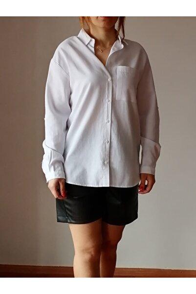 Mixray Kadın Beyaz Tek Cepli Gömlek