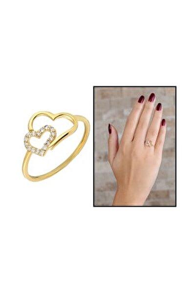 Zirkon Taşlı Asimetrik Kalp Tasarım Gold Renk 925 Ayar Gümüş Bayan Yüzük 102001710
