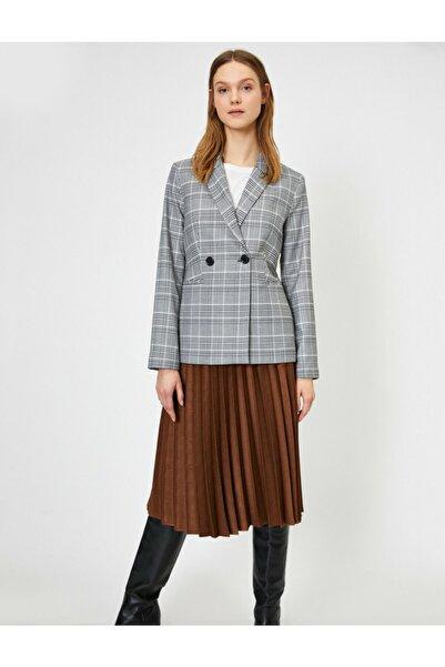Koton Kadın Ekoseli Kruvaze Blazer Ceket