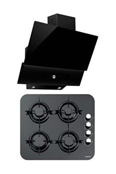 Siyah İkili Oval Cam Ankastre Set (DA6 830 Davlumbaz + 40 TSHDF Oval Cam Ocak)