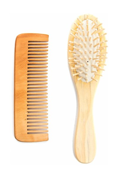 Ağaç Ustası Ahşap Tahta Saç Fırça Ve Ahşap Kalın Dişli Tarak Seti %100 Doğal Tamamen Doğal Ve Ahşaptan Imal Set
