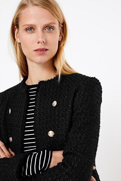 Marks & Spencer Kadın Siyah Slim Tüvit Blazer Ceket T59002898J