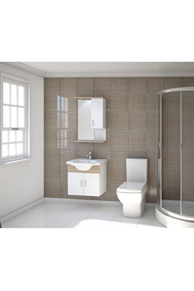Kare Banyo Kare Akyazı Serisi 55 cm Mdf Banyo Dolabı Takımı+seramik Lavabo