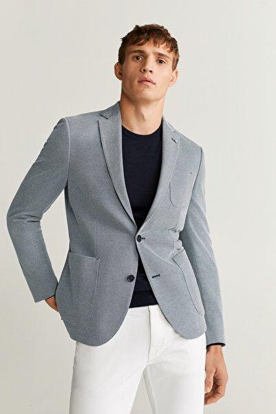 MANGO Man Erkek Mavi Dar Kesimli Kalıplı Pamuklu Blazer Ceket 67025902