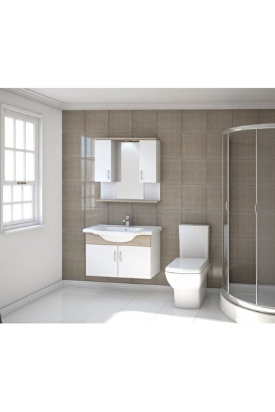 Kare Banyo Kare Akyazı Serisi 80 Cm Mdf Banyo Dolabı Takımı+seramik Lavabo