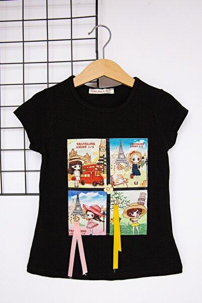 Babymod Kız Baskılı Siyah Kız Çocuk Body T-shirt
