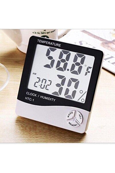 HTC Derece Termometre Isı Nem Saat Alarm Mini Dijital Termometre Nem Ölçer Oda Sıcaklığı Iç Mekan Lcd