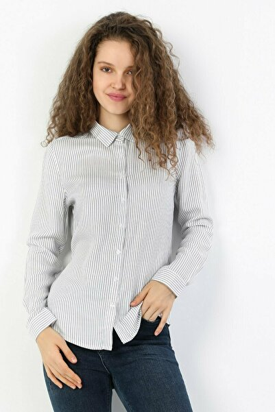 Colin's KADIN Slim Fit Shirt Neck Kadın İndigo Uzun Kol Gömlek CL1048443