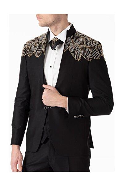 Jack Martin Taşları El Işcilikli - Siyah Sarı Kanat Smokin / Damatlık Yelekli Takım Elbise
