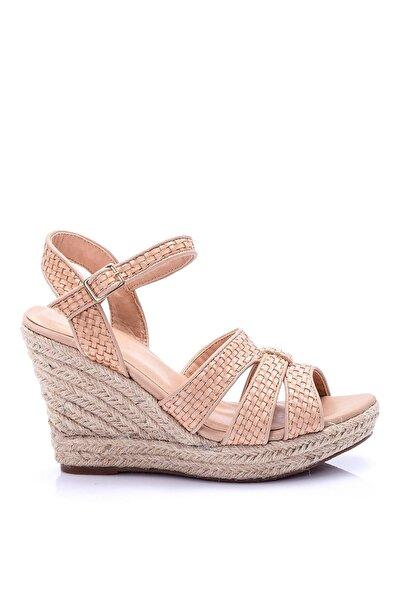 Derimod Toprak Rengi Kadın Dolgu Topuklu Ayakkabı