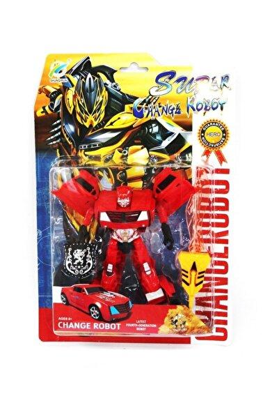Beyaz Kuş Oyuncak Transformers Arabaya Dönüşen Robot Kırmızı
