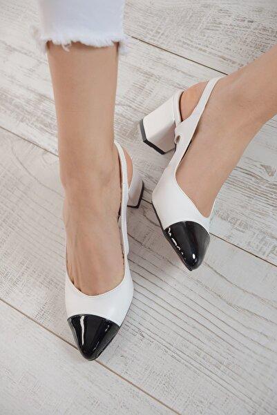 Shoes Time Siyah Beyaz Kadın Topuklu Ayakkabı 19Y 3400
