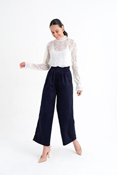 Kadın Lacivert Bol Paçalı Uzun Pantolon HN1796