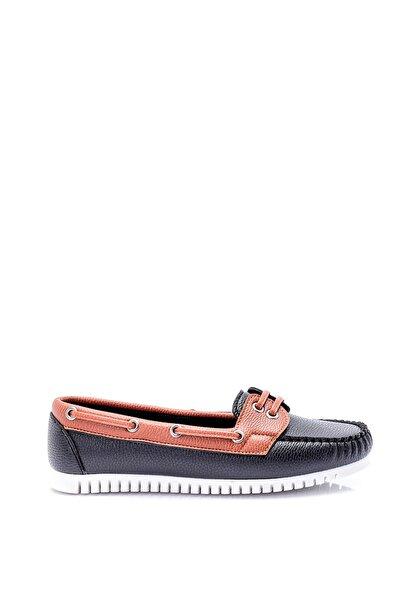 Derimod Taba Siyah Kadın Loafer Ayakkabı